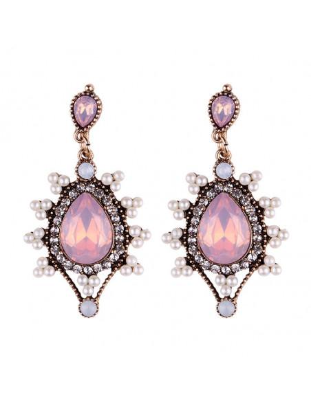 Cercei eleganti aurii, Candy Camellia, cu perlute albe si cristal mare