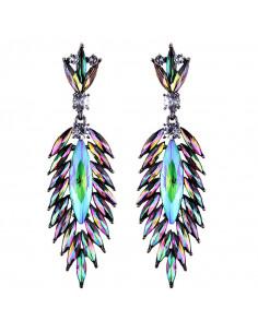 Cercei luxury Peacock Parade, cu cristale ascutite stralucitoare