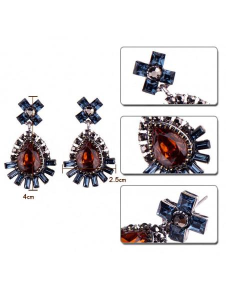 Cercei vintage Ocean Amber, hematite si cristale dreptunghiulare