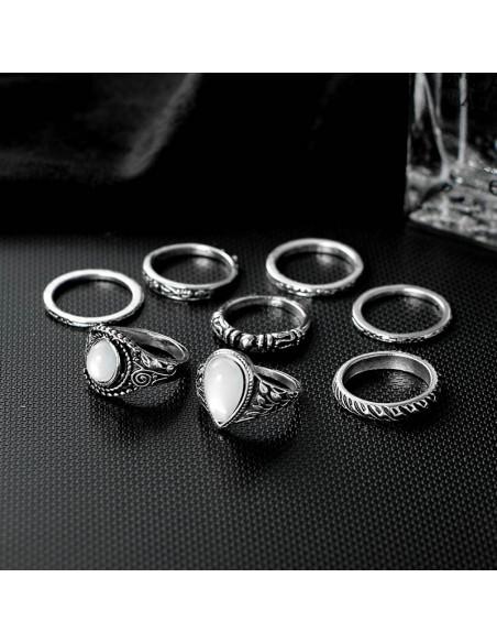 Set 8 inele boho, cu pietre albe si model floral etnic in relief