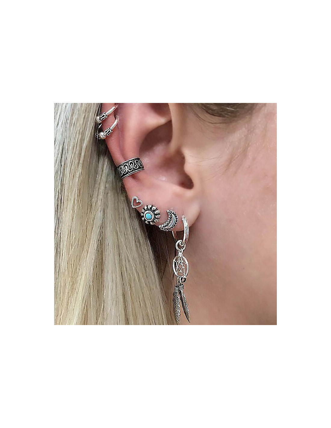 Dream Catcher Ear Cuff cercei si ear cuff boho dreamcatcher inimioara luna si floare 40