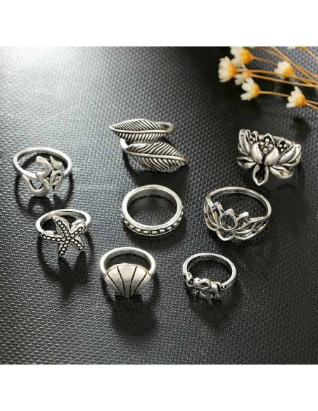 Set 8 inele etnice, cu lotus, stea de mare, scoica, frunze si elefantel