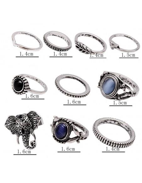 Set 10 inele etnice, elefant cu cristale si verigi cu model in relief