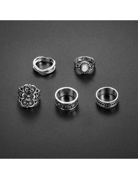 Set 5 inele etnice, floare mare, soare, stelute si piatra alba