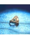 Inel vintage oval cu cristal central taietura bagheta cu o centura de cristale albe