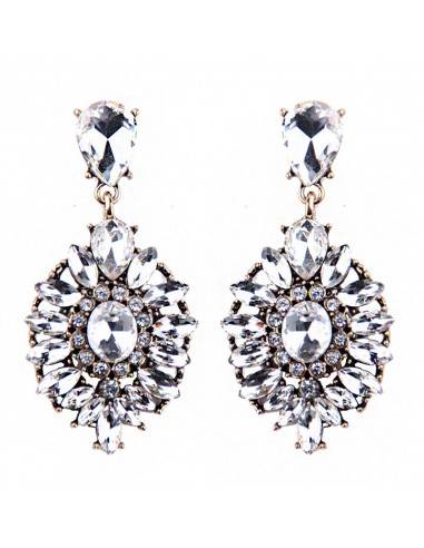 Cercei eleganti cu cristale albe ovale si medalion in centru, 2 elemente