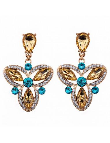 Cercei luxury, Royal Triskelion, cristale galbene, albe si smarald