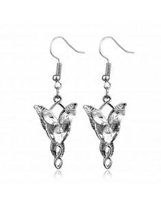 Cercei Arwen Evenstar eleganti, cu trei cristale albe