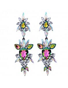 Cercei luxury Orchid Mantis, lungi, cu cristale mari stralucitoare