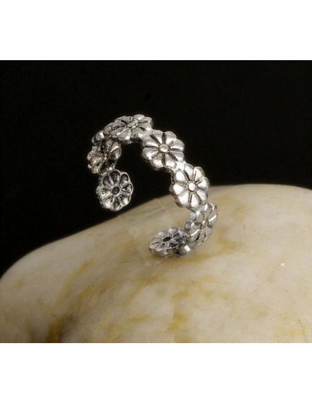 Inel argintiu midi, pentru picior sau varful degetului, cu flori mici