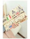 Plic din material imprimat, cu model timbre diverse tari, plic fashion cu insertii aurii si curea