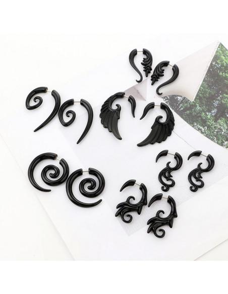 Ear expander fals, model tribal ondulat din plastic negru