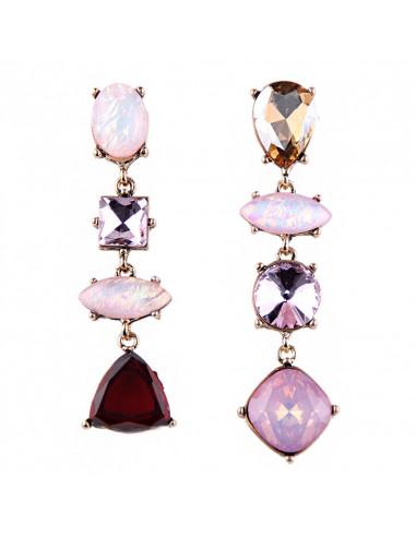 Cercei statement asimetrici, Oval Firestones, cristale mari opalescente