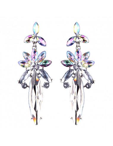 Cercei luxury Mountain Daffodil, cu cristale cat-eye fatetate