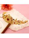 Tiara Golden Laurels, cu frunzulite si cristale verzi si rosii