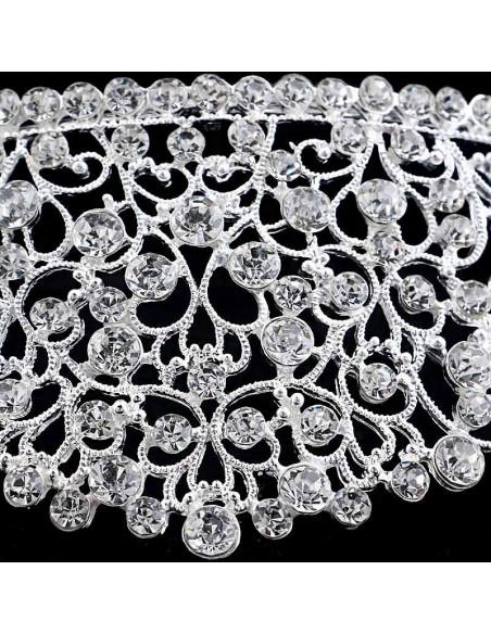 Tiara argintie January Bride, inalta, cu cristale rotunde albe