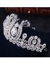 Tiara argintie Diamond Coronet, ramurele si flori cu cristale albe
