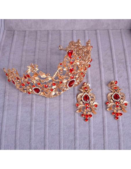 Set tiara si cercei model baroc, auriu cu cristale albe, rosii si verzi