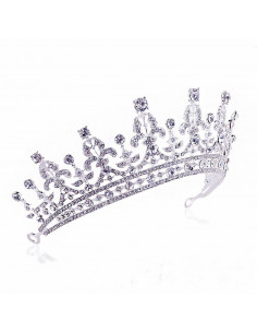 Tiara eleganta Spanish Queen, model floral cu cristale rotunde