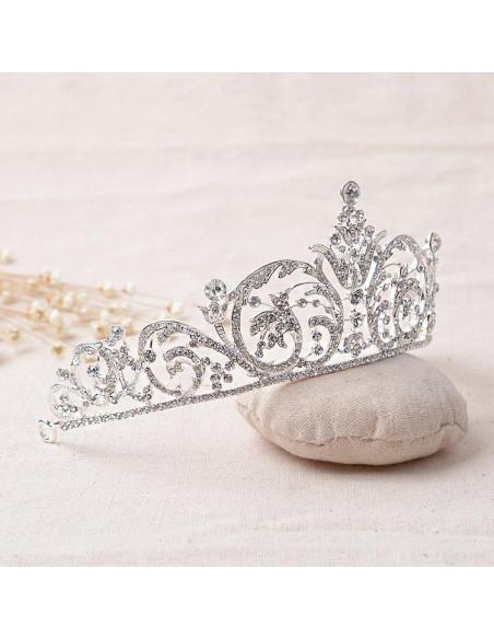 Tiara argintie Snow Lilies, ramurele si flori cu cristale albe
