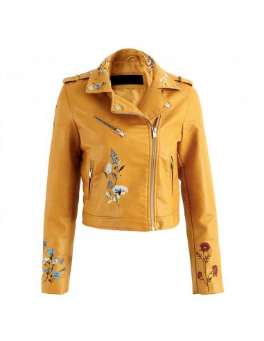 Jacheta biker de dama, broderie colorata cu maci si flori de mar