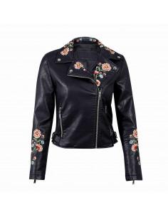 Jacheta biker brodata colorat cu trandafiri, din piele ecologica