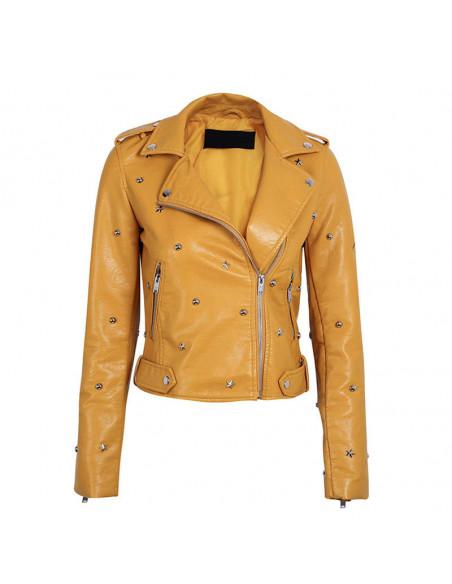 Jacheta biker din piele ecologica, cu capse si stelute metalice