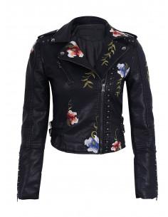 Jacheta biker brodata colorat cu flori rosii si bleu, piele ecologica