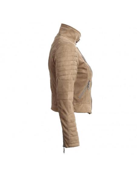Jacheta biker din piele intoarsa ecologica, crem, cu fermoare