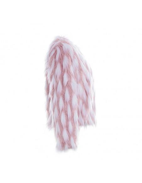 Geaca de blanita artificiala, cu fir lung, alba cu roz