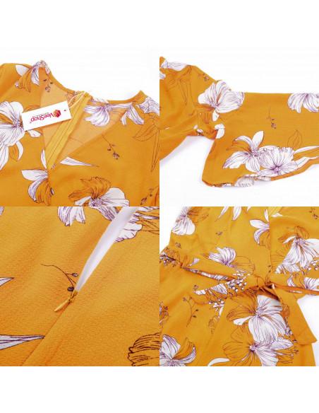Salopeta de vara, galbena cu flori albe si pantaloni scurti