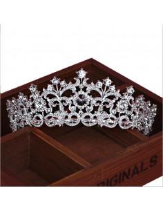 Tiara argintie Princess Delphine, frunze si cristale mari rotunde