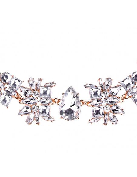 Choker lat luxury, medalioane cu cristale rotunde, patrate si picatura
