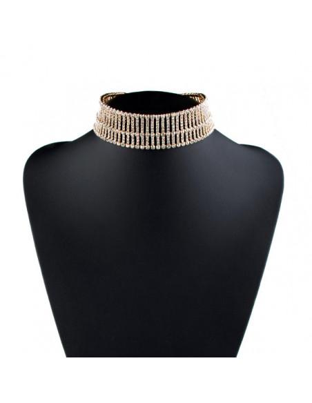 Choker lat luxury, model scarita cu cristale mici albe