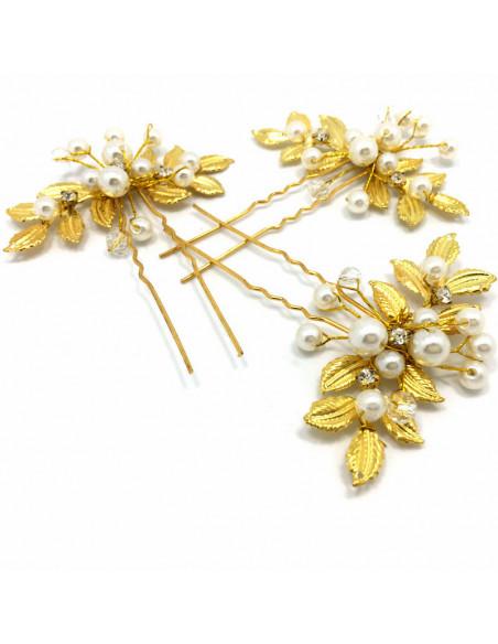 Agrafa pentru mireasa cu frunze aurii perle si cristale albe pentru coc