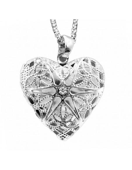 Pandantiv argintiu cu inima, care se deschide, pentru poze