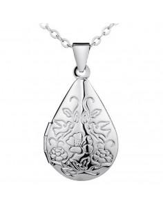 Pandantiv argintiu cu flori si porumbei, care se deschide, pentru poze