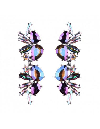 Cercei luxury Purple Hive, lungi, cu cristale cat-eye si picatura