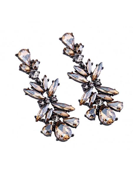 Cercei luxury Winter Butterfly, lungi, cu cristale mari stralucitoare