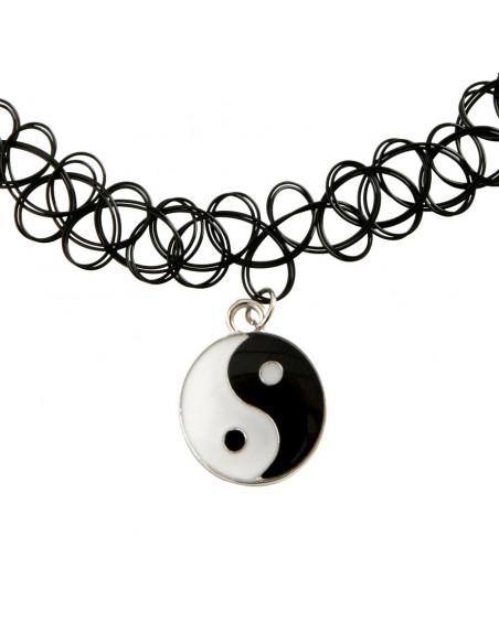 Colier tattoo choker cu Yin si Yang medalion rotund