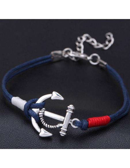 Bratara nautica cu ancora si doua snururi albastre prinse cu rosu