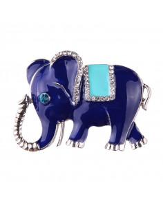Brosa cu elefant indian albastru cu cristale colorate