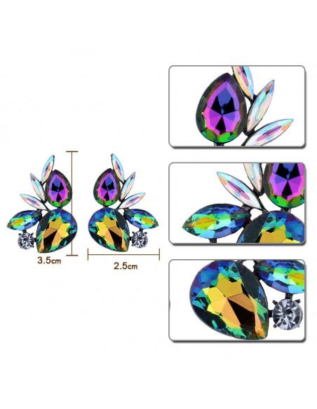 Cercei luxury Humming Birds, cu cristale mari multicolore