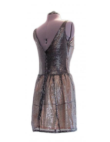 Rochie scurta de seara, din material negru transparent cu paiete