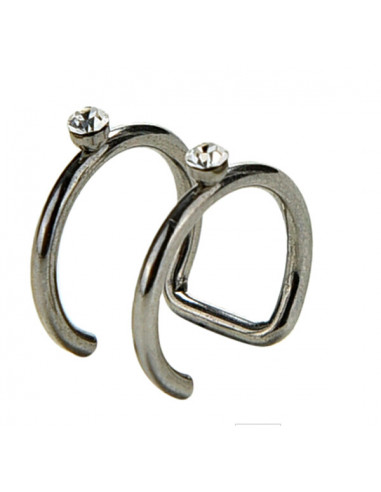 Cercel ear cuff, model inele dublu cu cristale mici
