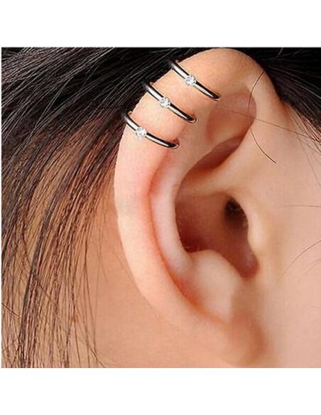 Cercel ear cuff, model inele triplu cu cristale mici