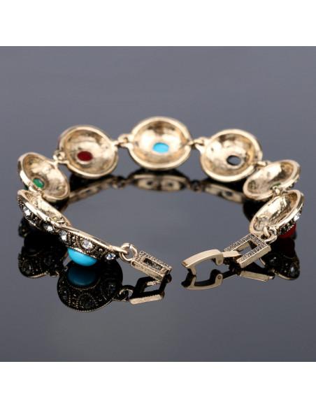 Bratara vintage cu medalioane tip carapace de testoasa, colorate cu cristale