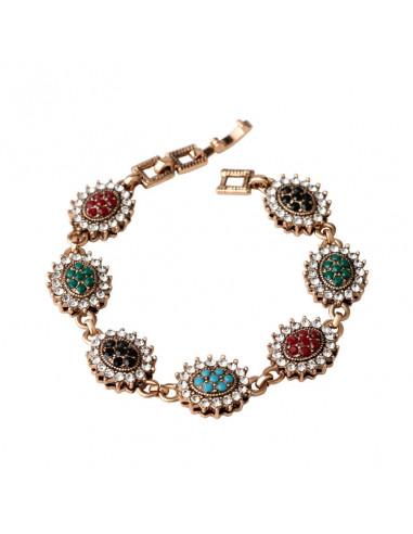 Bratara vintage cu medalioane mari ovale cu cristale albe si multicolore