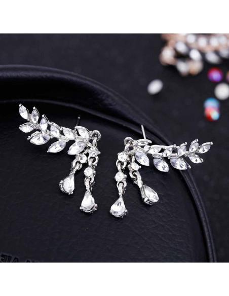 Cercei eleganti ramurele cu cristale si doua picaturi de cristal