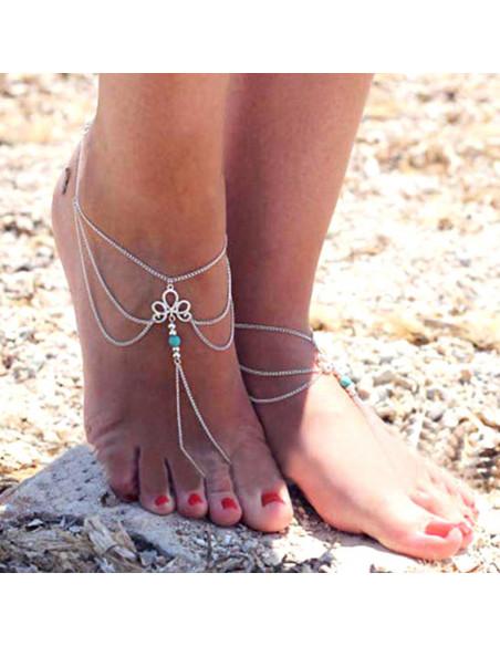 Bratara cu inel pentru picior, medalion si margica turcoaz
